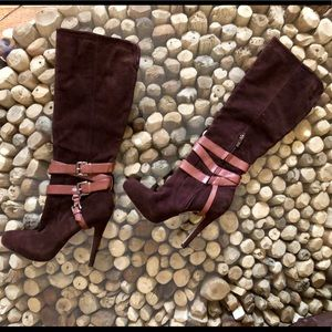 "Sam Edelman ""Roula"" Brown Suede High Heel Boots"